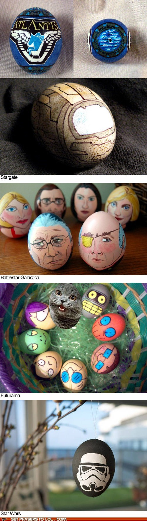 Battlestar Galactica,dye,easter,easter eggs,futurama,geeky,science fiction,star wars,Stargate