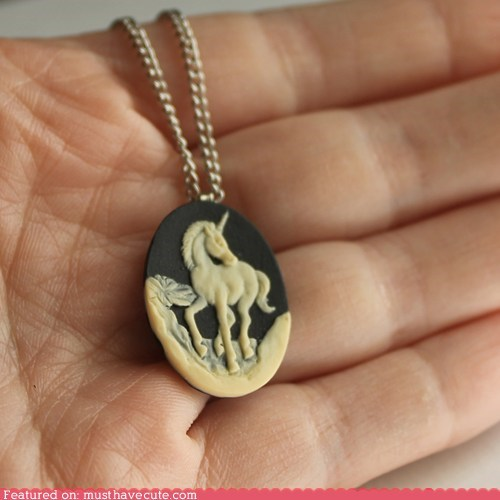 cameo chain necklace pendant unicorn - 6079294720