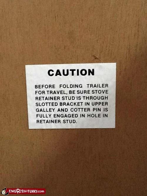 bracket caution danger pin retainer stove stud Travel warning - 6079656448