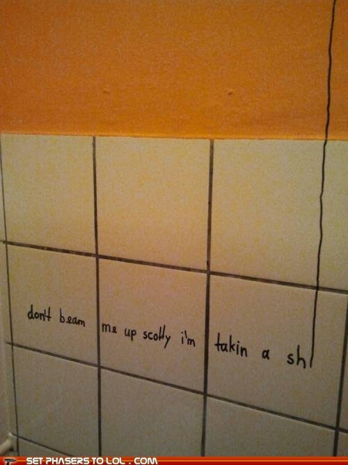 Bathroom Graffiti,beam me up,best of the week,marker,poop,scotty,Star Trek