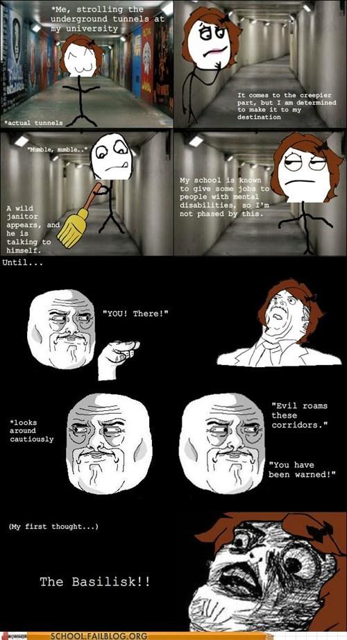 basilisk Hogwarts janitor Rage Comics youve-been-warned - 6079818240