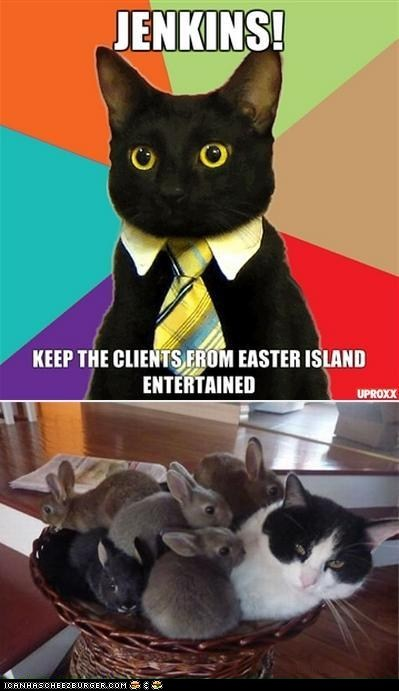 bunnies,Business Cat,easter,easter island,jenkins,Memes,multipanel