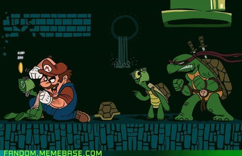 cartoons,crossover,Fan Art,ninja turtles,Super Mario bros,video games
