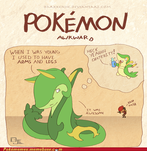 art evolution pokemon awkward serperior snivy - 6082886144