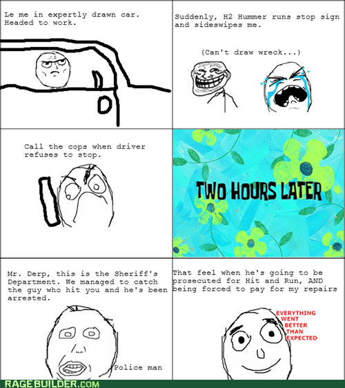car,everything went better than expected,hit and run,Rage Comics