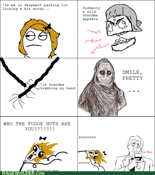 grandma,omg run,Rage Comics,shadowlurker