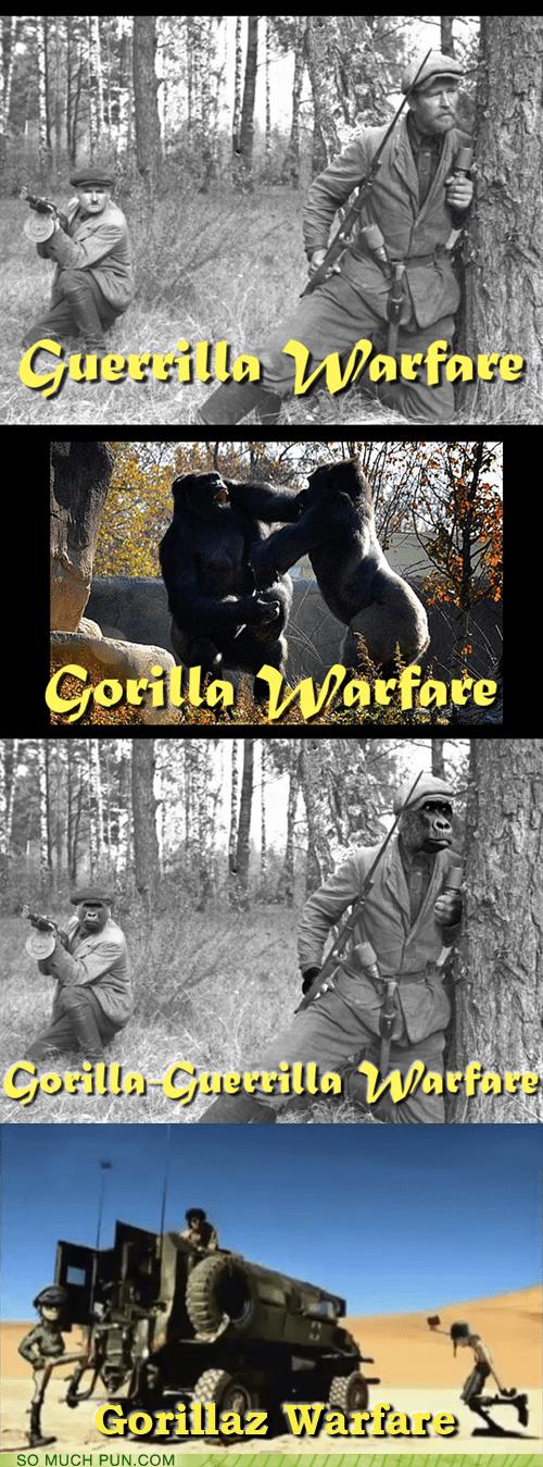 damon albarn gorilla Gorillaz guerilla Hall of Fame homophones literalism warfare - 6084665856