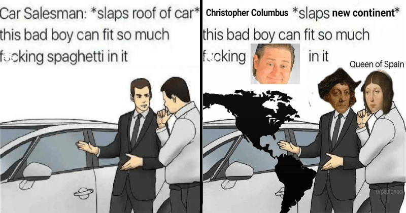 Funny meme about spaghetti car salesman