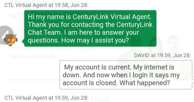 customer service cringe technology conversation century link ridiculous texting - 6087685