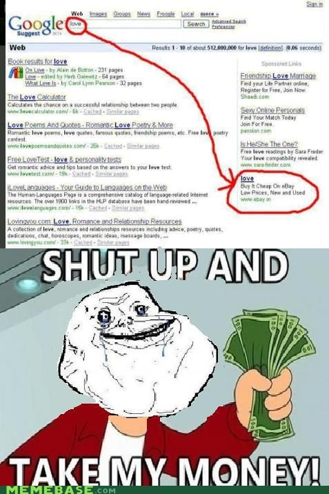 forever alone,fry,google,love,shut up,take my money