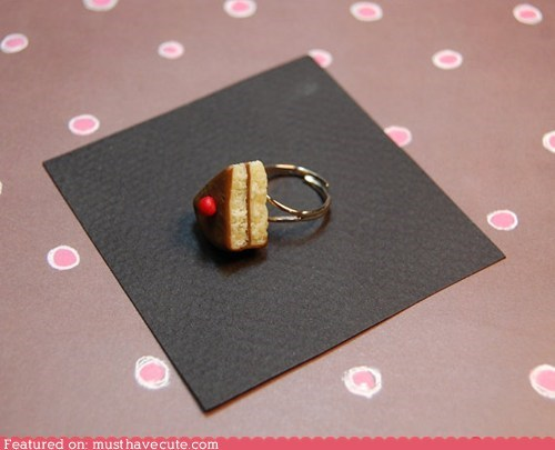 cake cherry clay handmade miniature ring - 6088054016