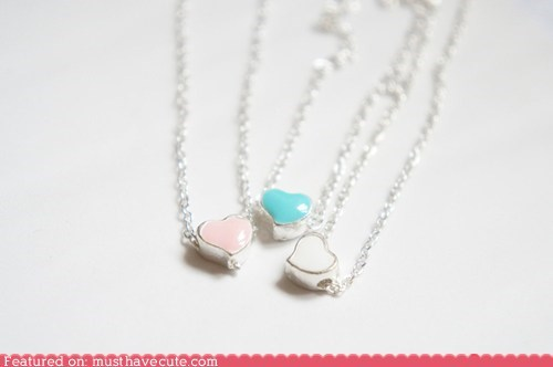 chain heart necklace Pastel pendant spring - 6089255936