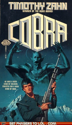 book covers,books,cobra,cover art,science fiction,timothy zahn,wtf