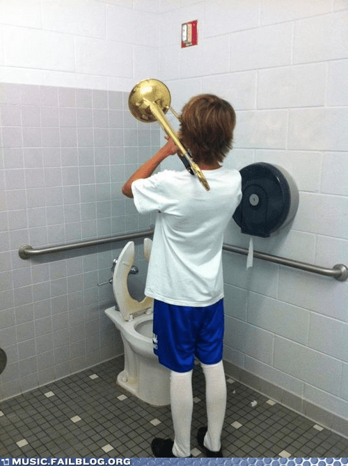 band bathroom practice practicing trombone