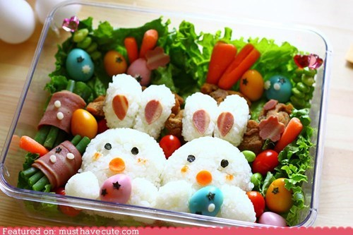 art,bento,bunnies,epicute,lunch,meat,rice,veggies
