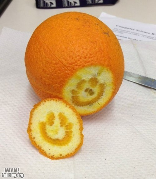 accident fruit orange smiley face