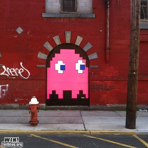 graffiti,hacked irl,nerdgasm,pac man,Street Art,video games