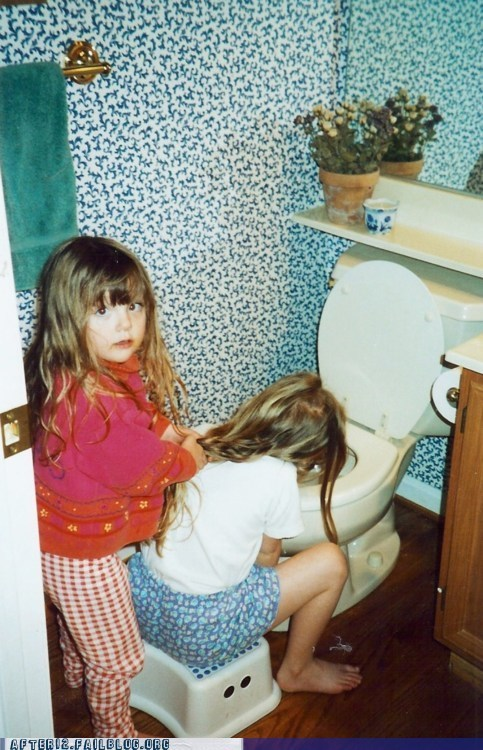 hold her hair back kids puke sis sister throwing up vomit - 6091845120
