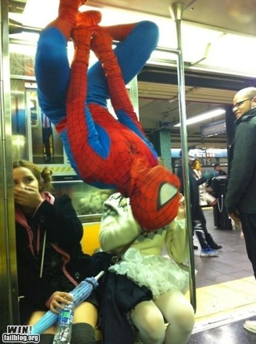 costume,Spider-Man,Subway,super heroes,train