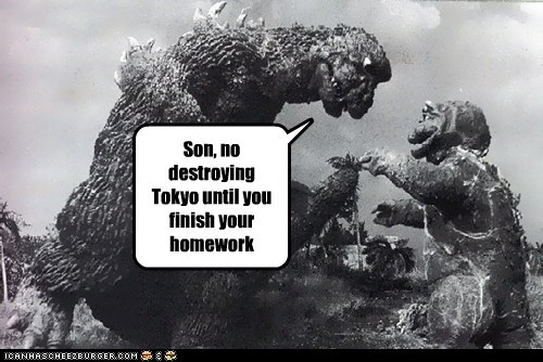 dad destroying godzilla homework kids parenting scolding tokyo