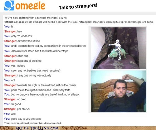 GI Joe,lost,Omegle,video chat