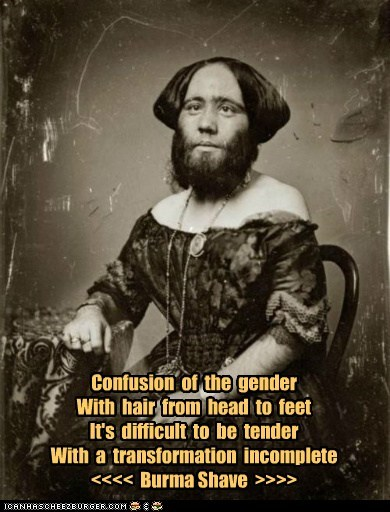 Confusion of the gender With hair from head to feet It's difficult to be tender With a transformation incomplete <<<< Burma Shave >>>>