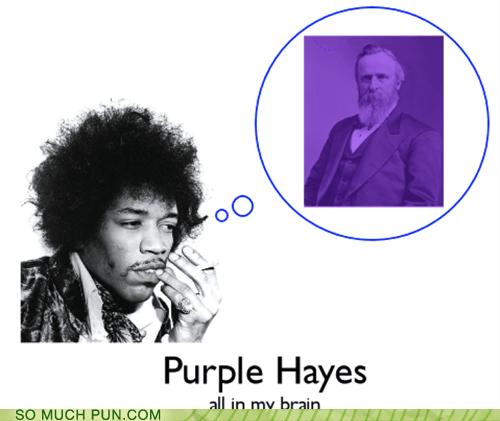 homophone jimi hendrix literalism president purple haze rutherford b hayes - 6094551808