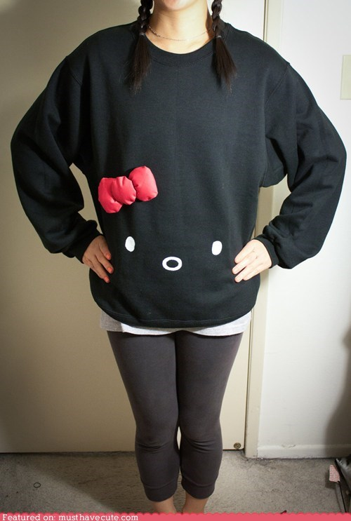 black,bow,face,hello kitty,shirt,simple,sweatshirt