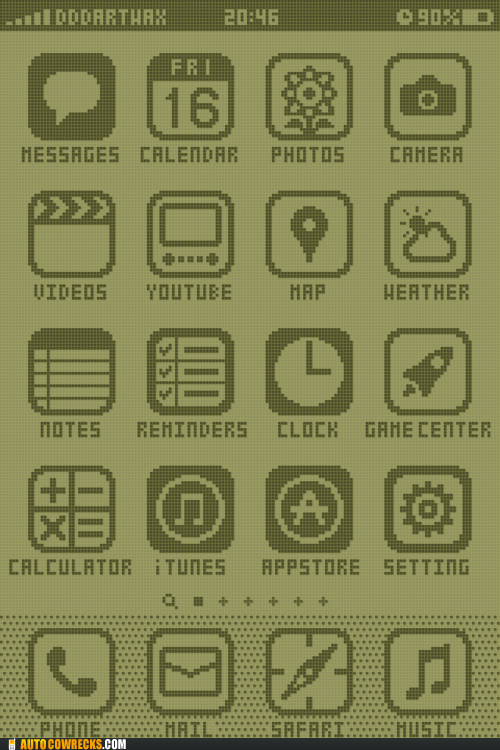 iphone menu,nokia,pixels