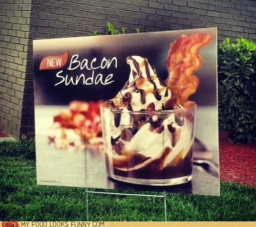 bacon burger king chocolate ice cream sundae - 6094929152