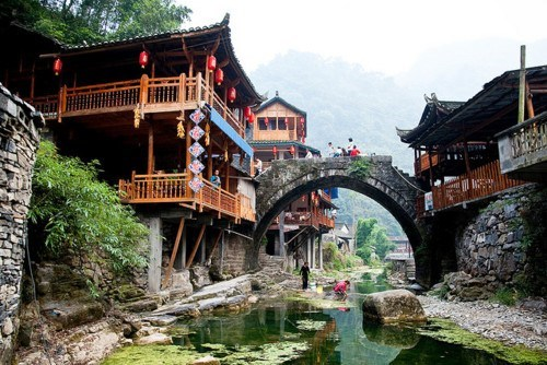 bridge,China,river,village
