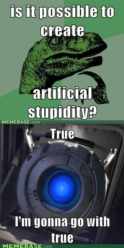 a-i meme philosoraptor portal 2 rambling Wheatley - 6094988800