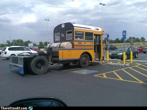 bus,school bus,semi truck,short bus,yellow bus