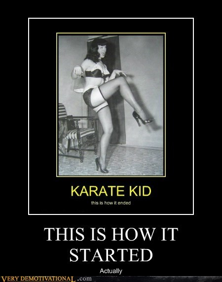 Bettie Page crane kick hilarious Karate Kid Sexy Ladies - 6095099136