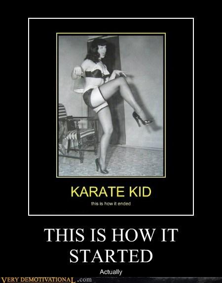 Bettie Page crane kick hilarious Karate Kid Sexy Ladies - 6095099136