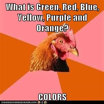 What is Green, Red, Blue, Yellow, Purple and Orange? COLORS