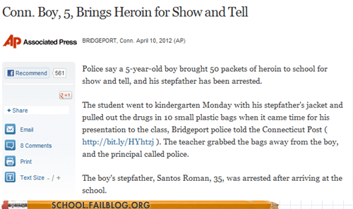 drugs heroin show and tell