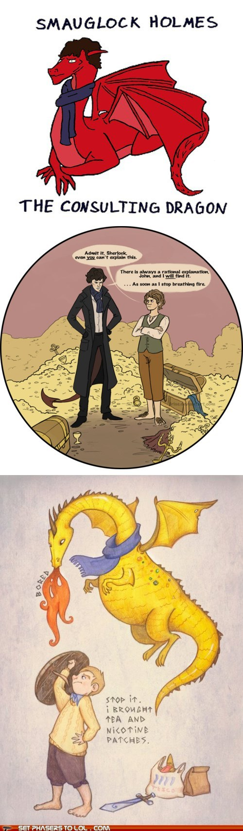 bennedict cumberbatch best of the week Bilbo Baggins detective dragon Fan Art Martin Freeman mashup Sherlock sherlock bbc smaug The Hobbit Watson - 6095627776