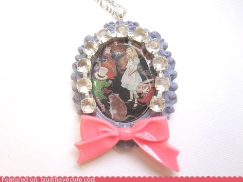 alice in wonderland,bow,cameo,necklace,pendant,rhinestones