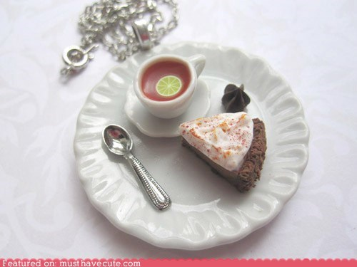 chocolate necklace pendant pie tea - 6098112512
