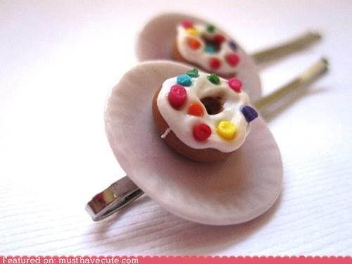 bobby pins,donut,hair pins,plate,sprinkles