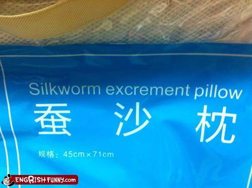 engrish funny excrement g rated Pillow silkworm
