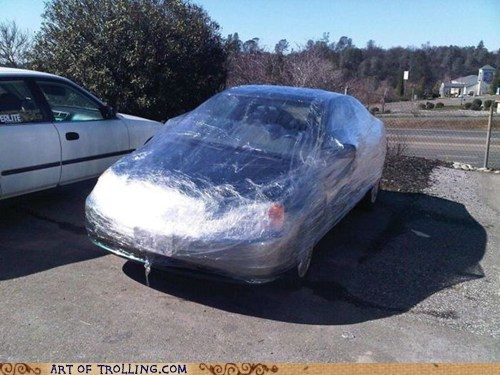 car,IRL,parked,plastic wrap