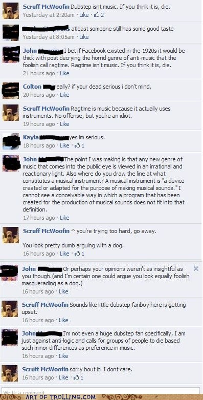 argument,dogs,dubstep,facebook