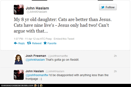 9 lives,Cats,jesus,kids,kids say the darndest things,lives,religion,tweets,twitter