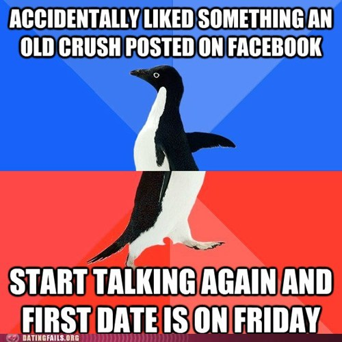 first date liked on facebook old crush socially awkward penguin - 6099181056