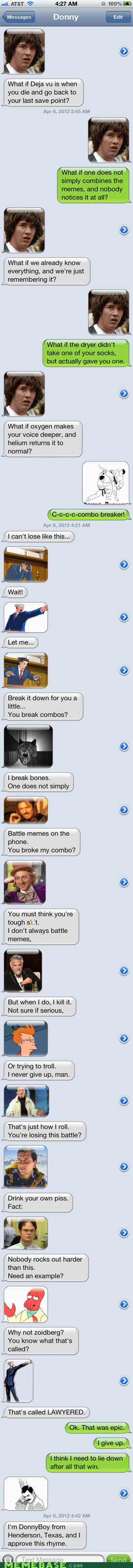 Battle,combo breaker,conspiracy keanu,phone,texts