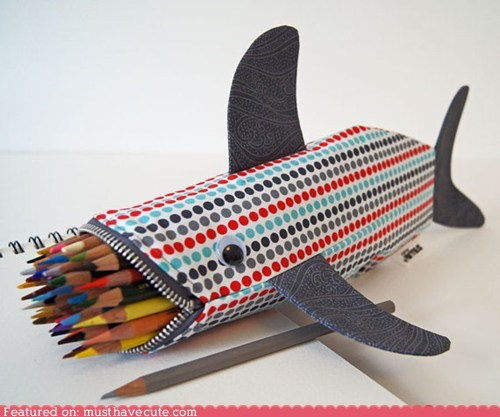 fabric pencil case shark zipper - 6099308544
