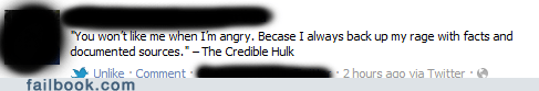 failbook,Featured Fail,g rated,hulk,pun,superheroes,the credible hulk,the hulk