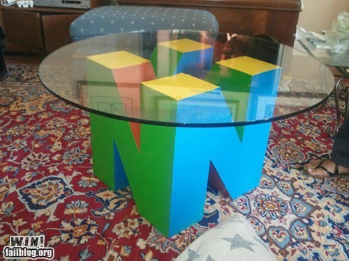 coffee table,design,g rated,nerdgasm,nintendo,nintendo 64,table,win